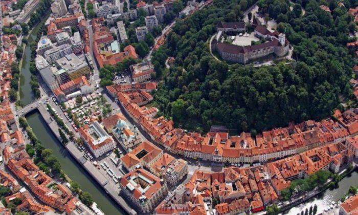 Lyublyana şəhərinin yuxarıdan görüntüsü
